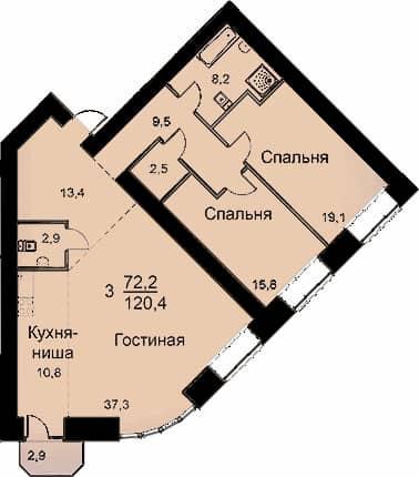 Квартира 120.4 м<sup>2</sup>
