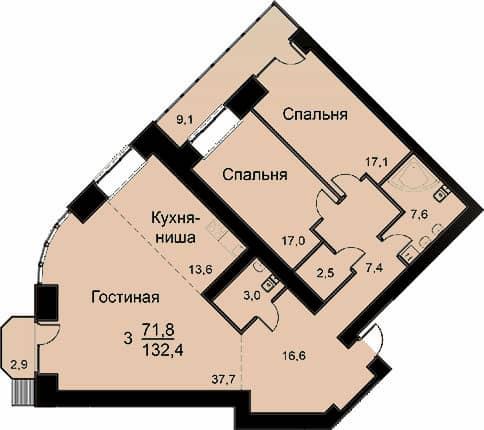 Квартира 132.4 м2