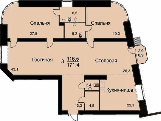 Квартира 171.4 м2