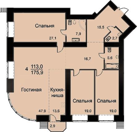 Квартира 175.9 м2